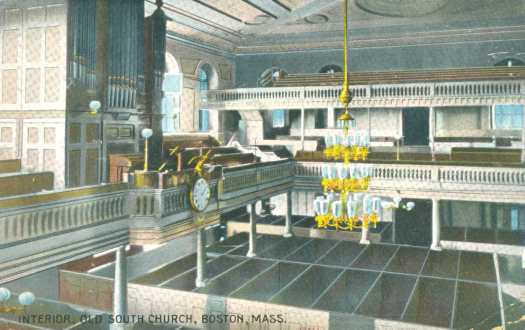 Interior Old South Meeting House, 1909