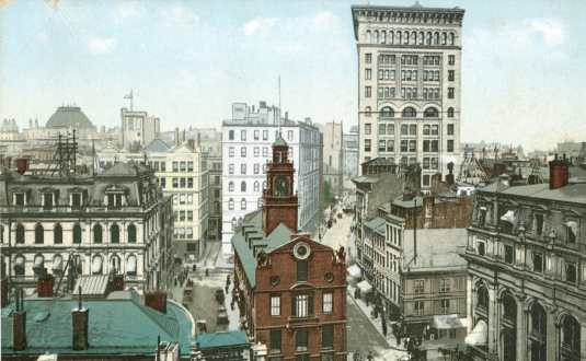 Old State House And Court Street In 1906