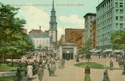 Park Street Church And Subway Entrances In 1920