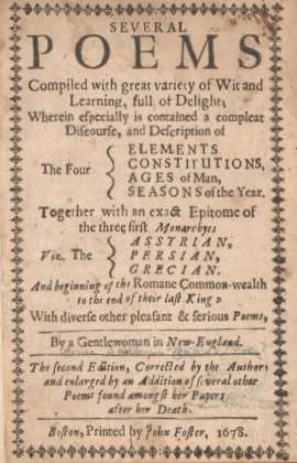 Anne Bradstreet Poetry Book, 1678