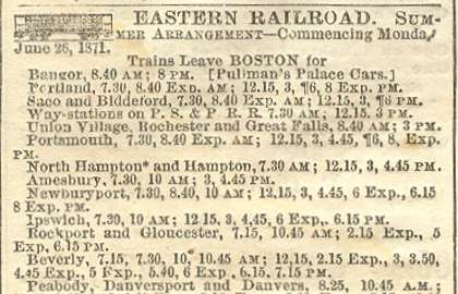 Revere Train Wreck Time Table, 1871
