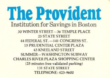 Provident Savings Business Card, c.1977