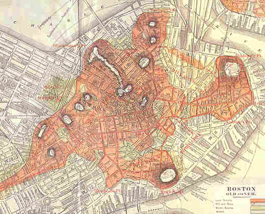 Boston Map Historical Sites.Topographical Map Of Boston 1882