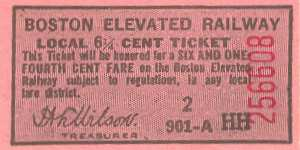 Boston 6-1/4 Cent Local Fare, 1930s