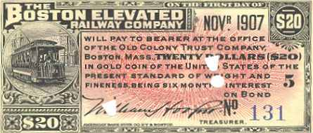 Boston Elevated Railway Bond Coupon