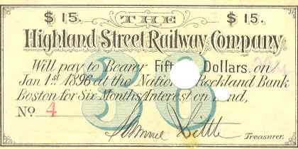 Highland Street Railway Bond Coupon