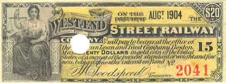 West End Street Railway Bond Coupon