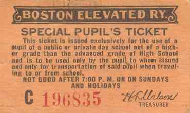 BERY Special Pupil's Ticket