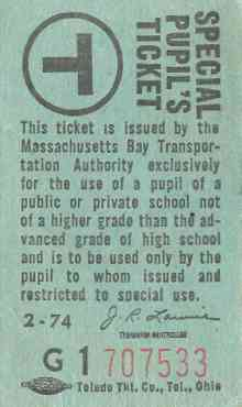MBTA Special Pupil's Ticket, 1970s