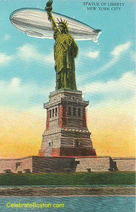 Airshiip Over Statue Of Liberty