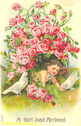 A Girl Just Arrived New Baby Card, c.1911