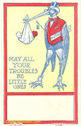 Troubles Be Little New Baby Card, c.1907