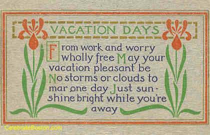 Vacation Days Poem, 1913
