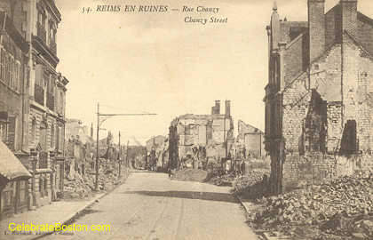 Reims In Ruins, Chanzy Street, 1918