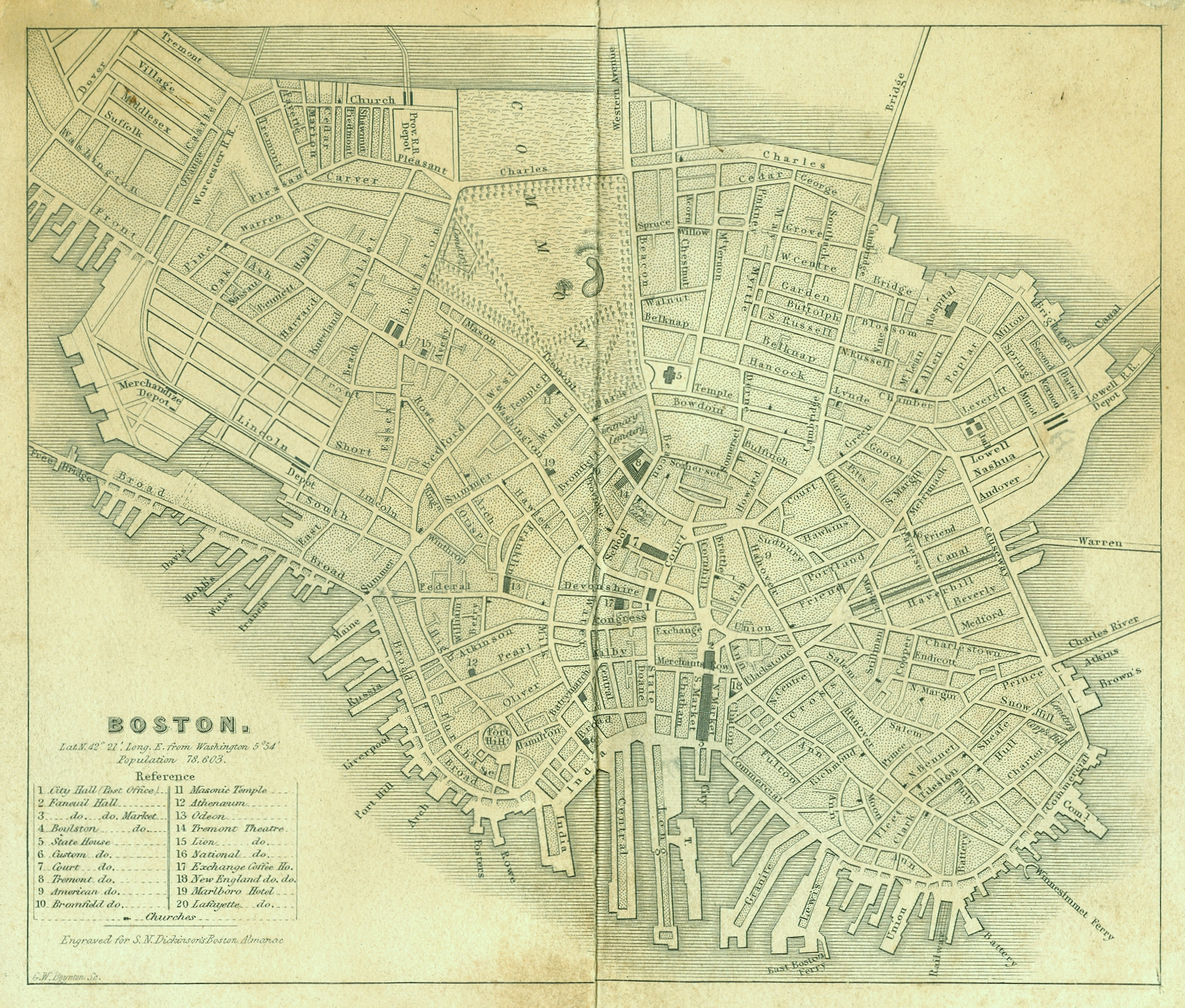Boston Map, 1838