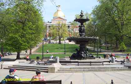 Boston Common Fountain With State House In Background